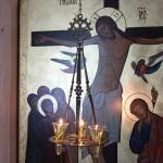 Лампадофор на три лампады, с хризмой, патинированный под старую бронзу