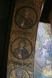 Святые мученики Севастийские Алесандр, Валерий и Вивиан, мозаики на южной подпружной арке, Собор Святой Софии, Киев, XI век
