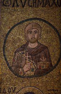 Святой мученик Лисимах Севастийский, мозаика на южной подпружной арке, Собор Святой Софии, Киев, XI век