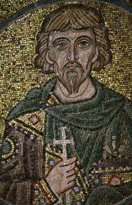 Святой мученик Худион Севастийский, мозаика на южной подпружной арке, Собор Святой Софии, Киев, XI век