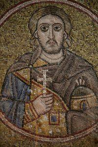 Святой мученик Аэтий Севастийский, мозаика на северной подпружной арке, Собор Святой Софии, Киев, XI век