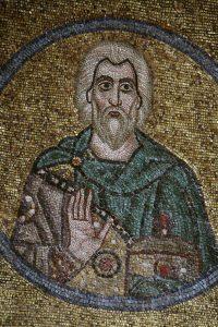 Святой мученик Ангий Севастийский, мозаика на северной подпружной арке, Собор Святой Софии, Киев, XI век