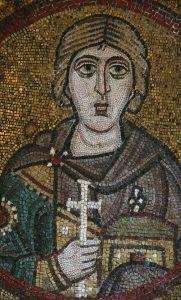 Святой мученик Севериан Севастийский, мозаика на северной подпружной арке, Собор Святой Софии, Киев, XI век