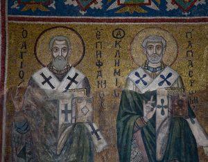 Святители Епифаний Кипрский и Климент папа Римский, мозаика северной части центральной алтарной апсиды, Собор Святой Софии, Киев, XI век