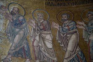 Апостолы, фрагм. Евхаристии, Святая София Киевская, XI век.