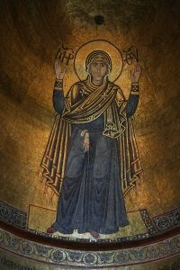 """Богородица """"Нерушимая стена"""", мозаика в конхе центральной апсиды, Собор Святой Софии, Киев, XI в."""