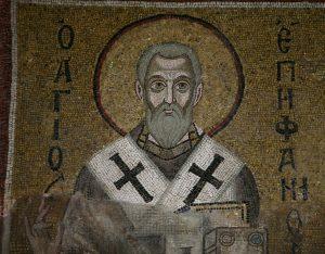 Святитель Епифаний Кипрский, мозаика северной части центральной алтарной апсиды, Собор Святой Софии, Киев, XI век