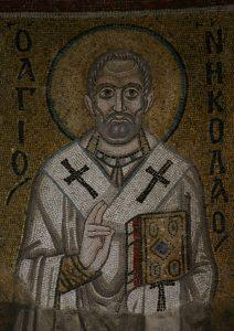 Святитель Николай, мозаика северной части центральной алтарной апсиды, Собор Святой Софии, Киев, XI век