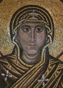 Богородица Оранта, фрагмент, мозаика в конхе алтарной апсиды, Собор Святой Софии, Киев, XI век