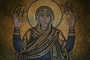 """Богородица """"Нерушимая стена"""", фрагмент, мозаика в конхе алтарной апсиды, Собор Святой Софии, Киев, XI век"""