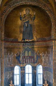 Мозаики Богородицы Оранты, Евхаристии и Святителей в центральной апсиде собора