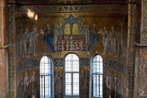 Евхаристия и Служба Святых Отцов, мозаика в алтарной апсиде, Собор Святой Софии, Киев, XI век