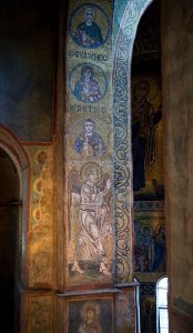 Севастийские мученики и Архангел Гавриил (Благовещение), мозаики на северном алтарном столбе, Собор Святой Софии, Киев, XI век