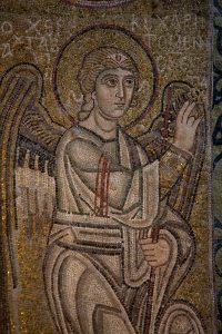 Архангел Гавриил из Благовещения (фрагмент), мозаика на северном алтарном столбе, Собор Святой Софии, Киев, XI век