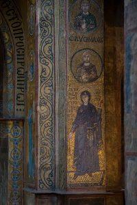 Пресвятая Богородица (Благовещение) и Севастийские мученики, вид на мозаики южного алтарного столба, Собор Святой Софии, Киев, XI век