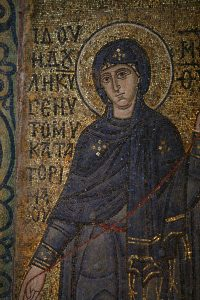 Пресвятая Богородица (Благовещение), фрагмент, мозаика на южном алтарном столбе, Собор Святой Софии, Киев, XI век