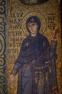 Пресвятая Богородица (Благовещение), мозаика на южном алтарном столбе, Собор Святой Софии, Киев, XI век