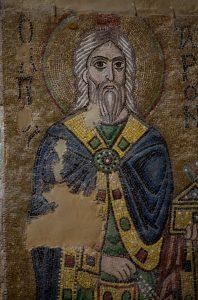 Первосвященник Аарон, фрагмент, мозаика на южной стороне северного алтарного столба, Собор Святой Софии, Киев, XI век