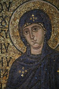 Пресвятая Богородица, фрагмент, мозаика на южном алтарном столбе, Собор Святой Софии, Киев, XI век