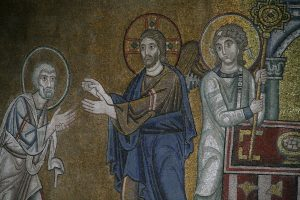 Христос дает причастие Апостолу Петру, фрагмент Евхаристии, мозаика в алтарной апсиде, Собор Святой Софии, Киев, XI век