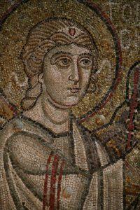 Архангел Гавриил (фрагмент), мозаика на северном алтарном столбе, Собор Святой Софии, Киев, XI век