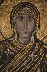 Богородица Оранта, фрагмент, мозаика в конхе алтарной апсиды, Собор Святой Софии Киевской, XI век