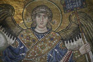 Архангел, мозаика в куполе, фрагмент, Собор Святой Софии, Киев, XI век