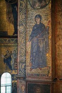 Пресвятая Богородица из Благовещения, мозаика южного алтарного столба, Собор Святой Софии, Киев, XI век