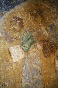 Ангелы из Крещения Господня. Фреска баптистерия Святой Софии Киевской, 12 век.