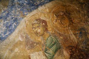 Ангелы (фрагмент Крещения Господня). Фреска баптистерия Святой Софии, Киев, 12 век.