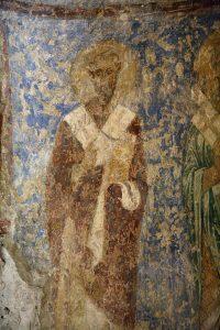 Святители Василий Великий. Фреска крещальни Святой Софии Киевской, 12 век.
