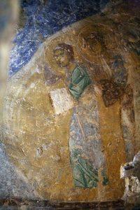 Ангелы (фрагмент Крещения Господня). Фреска баптистерия Святой Софии Киевской, 12 век.