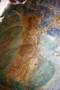 Иоанн Креститель (фрагмент Крещения Господня), фреска баптистерия Святой Софии Киевской, 12 век.
