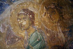 Ангелы (фрагмент Крещения Господня), фреска апсиды баптистерия Святой Софии Киевской, 12 век.