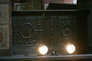 Резной шиферный парапет хоров. Собор Святой Софии, Киев, XI в.