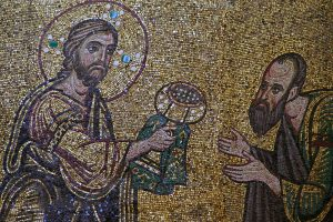 Христос и Апостол Павел из Евхаристии. Мозаика Михайловского собора, Киев, ок. 1112 г.