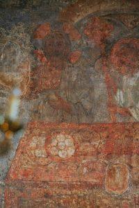 """Христос из """"Евхаристии"""". Фреска в алтарной апсиде. Кирилловская церковь, Киев, 12 в."""