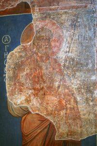 Апостол Петр, фреска северного алтарного столба. Кирилловская церковь, Киев, 12 в.