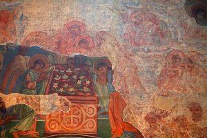 """Фрагмент """"Успения"""", северная стена. Кирилловская церковь, Киев, 12 в."""