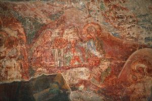 Рождество Христово, фрагмент. Южная стена. Кирилловская церковь, г.Киев, 12 в.