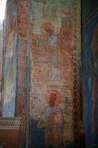 Сретение (вверху) и Апостол Павел (внизу), росписи южного алтарного столба. Кирилловская церковь, Киев, 12 в.