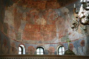 Евхаристия. Фреска в алтарной апсиде. Кирилловская церковь, Киев, 12 в.
