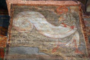 Ангел, свивающий небо в свиток. Кирилловская церковь, Киев, 12 в.