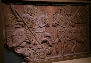 Святые воины. Парапетная шиферная плита из Димитриевского монастыря. Около 1062 г. Третьяковская галерея