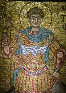Великомученик Димитрий Солунский. Мозаика Михайловского собора, Киев, ок. 1112 г. Третьяковская галерея.