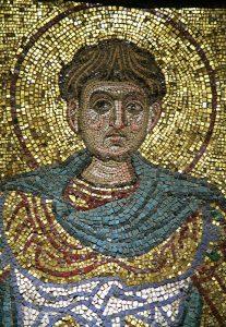 Великомученик Димитрий Солунский, фрагмент. Мозаика Михайловского собора, Киев, ок. 1112 г. Третьяковская галерея.