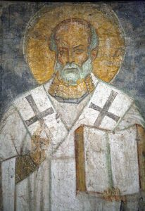 Святитель Николай, фрагмент. Фреска Михайловского собора, г.Киев, ок. 1112 г. Третьяковская галерея.